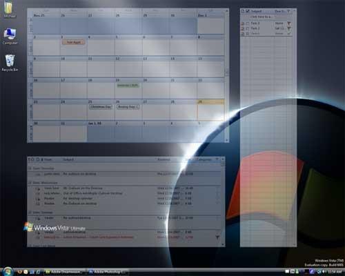 place your outlook calendar on your desktop